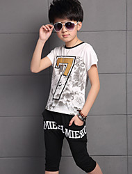 Boy's Cotton Summer Flower Printing Number Seven Short Sleeve Two-piece Suit