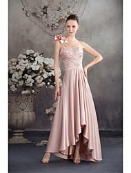 Asymmetrical Charmeuse Bridesmaid Dress Ball Gown One Shoulder with Flower(s)