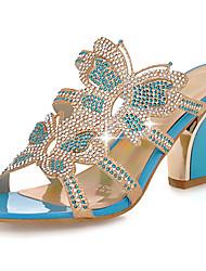 Women's Shoes Heel Heels / Peep Toe / Slippers Sandals / Heels / Clogs & Mules Outdoor / Dress / Casual Blue / Gold