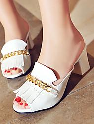 Damenschuhe-Sandalen / High Heels / Pantoffeln & Holzschuhe-Outddor / Kleid / Lässig-Kunstleder-Blockabsatz-Absätze / Zehenfrei-Schwarz /