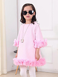 Girl's Pink Dress , Lace Cotton Spring / Fall
