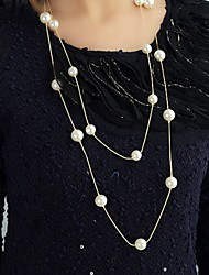 New Imitation Pearl Jewelry Multi Layer Gold Color Long Necklace Created Pearl Necklace Perlas Fashion Collier Perle