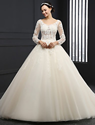 Ball Gown Wedding Dress - Champagne Chapel Train Scoop Tulle
