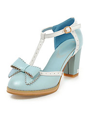 Women's Shoes Leatherette Spring / Summer / Fall Heels Wedding / Dress / Party & Evening Chunky Heel Blue / Pink / White
