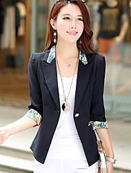 Women's Print Blue / Pink / Black / Yellow / Purple Blazer,Simple V Neck ½ Length Sleeve