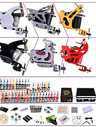 Professional Tattoo Kit KW06B 6 Machines With Power Supply Grips 40x5ML Ink needles