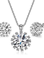 HKTC Women's Big Top Cubic Zirconia Diamond Pendant Necklace and Stud Earrings Set