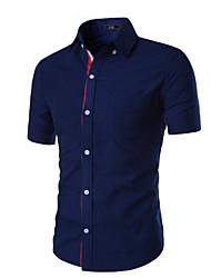 Men's Solid Work / Formal Shirt,Cotton Short Sleeve Black / Blue / Red / White