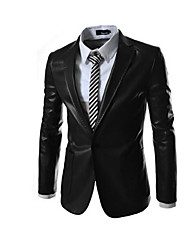 High Quality Brand Men's Slim Fit Fashion a Double Bag Leather Suit Coat PU Top