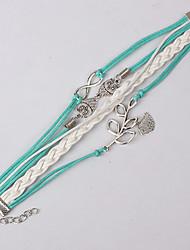 leather Charm Bracelets Multilayer Bird Alloy Charms Handmade Leather Bracelets Jewelry