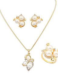 Women's European Elegant Fashion Pearl Shiny Rhinestone Necklace Earrings Ring Set Bridal Set