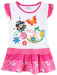 Girl's Dress Summer Floral Dress Flower Embroidery Children Dresses(Random Printed)