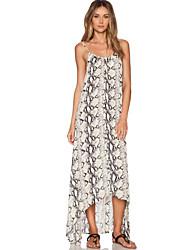 Women's Sexy / Boho Print A Line / Loose Dress , Strap Maxi Spandex