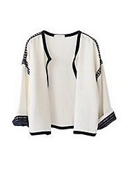 Women's Casual/Daily Simple Spring Wrap,Embroidered Round Neck Long Sleeve White Polyester Medium