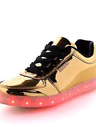 Damen-Sneaker-Lässig-PU-Flacher Absatz-Komfort Light Up Schuhe-Silber Gold