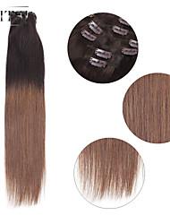 "neitsi® 20 ""6pcs establecen 100% de clip remy real en extensiones de cabello humano ombre virgen recta t2-8 pelo"