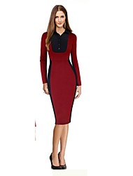 Women's Simple Color Block Bodycon Dress , Shirt Collar Midi Cotton / Polyester