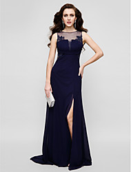 Sheath / Column Jewel Neck Floor Length Chiffon Tulle Prom Formal Evening Dress with Beading Appliques by TS Couture®