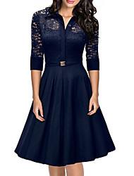 Women's Shirt Collar Lace Stitching Hollow Mid-sleeve Skater Dress