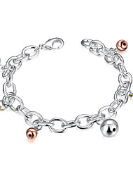 Lureme® Fashion Style Silver Plated Small Bell Pendant Link Chain Bracelets for Women