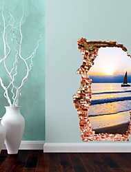 Sea Canoe Sunset 3D Wall Sticker Home Deco Stereo Removable Door Stickers