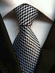 Krawatte (Schwarz / Weiß , Polyester) Gestreift