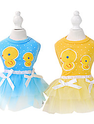 Dog Dress Blue / Pink / Yellow Spring/Fall Cartoon / Bowknot Fashion