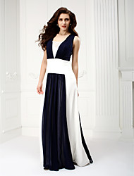 TS Couture Prom Formal Evening Dress - Color Block A-line Square Floor-length Chiffon with Draping
