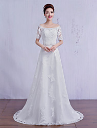 A-line Wedding Dress Sweep / Brush Train Off-the-shoulder Tulle with Sash / Ribbon / Beading / Lace