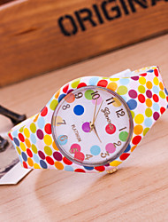 Casual Women's Wrist Watch  Geneva Quartz Ladies  Watch Silicone Band Watches Of Dot Dial