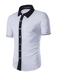 Men's Solid Work / Formal Shirt,Cotton Short Sleeve Black / White