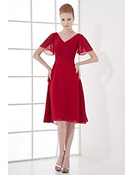 Lanting A-line Mother of the Bride Dress - Ruby Knee-length Chiffon
