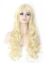 Long Wavy Hair Bleach Blonde Color Synthetic Wigs for Women