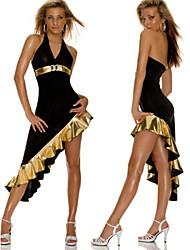 Sexy Black Asymmetrical Dress Latin Dance Party Costume