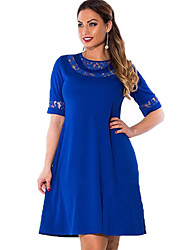 Women's Street chic Plus Size / Lace Dress,Solid Round Neck Knee-length ½ Length Sleeve Blue / Red / Black Rayon Spring
