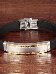 Stainless Steel Meander Men Silicone Bracelet