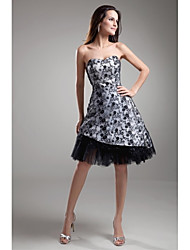 Lanting Asymmetrical Lace Bridesmaid Dress - Silver / Black A-line Strapless