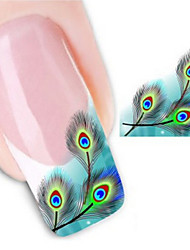Hot Sale Watermark Nail Art Sticker 3D Design Cute Green Feather, Water Transfer Nail Decal Manicure Tools