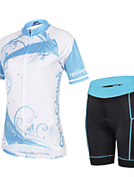 CHEJI Women's Breathable Quick Dry Short Sleeve Cycling Jersey 3D Pad and Shorts