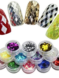 12 Colors  Rhombus Glitter Nail Art Decoration Combination
