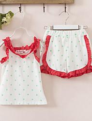 Summer Falbala Wave Cotton Condole Belt Vest Shorts 2 Sets Of The Girls