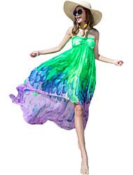 Women's Holiday / Beach Print Chiffon / Swing Dress , Halter Maxi Others