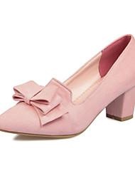 Zapatos de mujer-Tacón Robusto-Tacones / Puntiagudos-Tacones-Vestido-Semicuero-Negro / Rosa / Gris