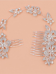 The New Type Of Multi-Functional Long Bride Combs With Shiny  Diamond Alloy Headdress