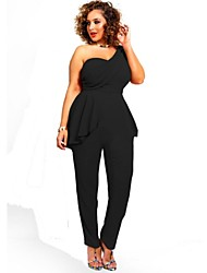 Women's Solid Black Jumpsuits , Sexy One Shoulder Sleeveless