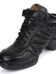 Modern Women's Dance Shoes Sneakers Breathable Leather Low Heel Black