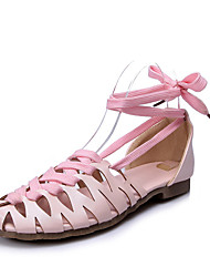 Women's Shoes Leatherette Flat Heel Novelty Flats Dress / Casual Blue / Pink / White