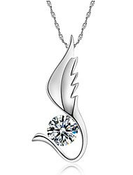 Women's Pendant Necklaces Crystal Silver Sterling Silver Rhinestone Wings / Feather Fashion Silver Jewelry Party Daily Casual 1pc