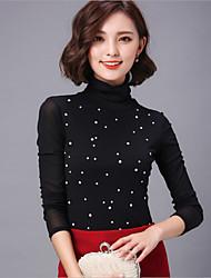 Women's Print Black Blouse , Turtleneck Long Sleeve