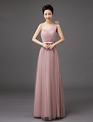 Floor-length Tulle Bridesmaid Dress-Lilac / Pearl Pink / Silver Sheath/Column One Shoulder